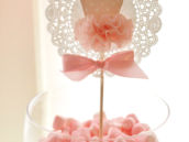 Marshmallow bowl with ballerina tutu doily topper