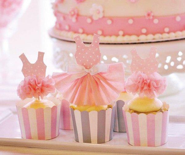 Ballerina Princess cupcakes with tutu toppers