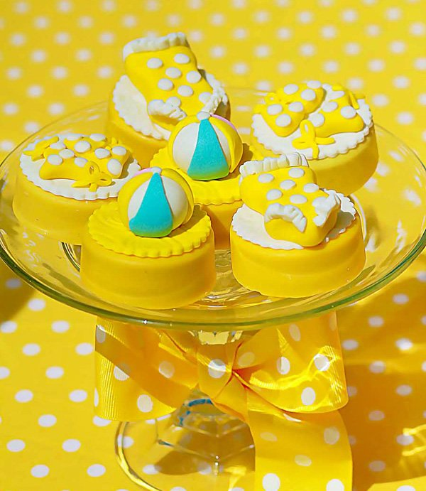 Beach ball and swimsuit oreo toppers
