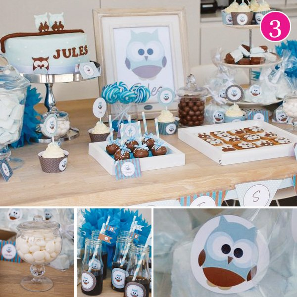 blue owl dessert table