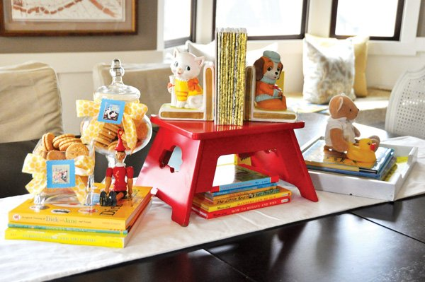 bookend baby shower centerpiece
