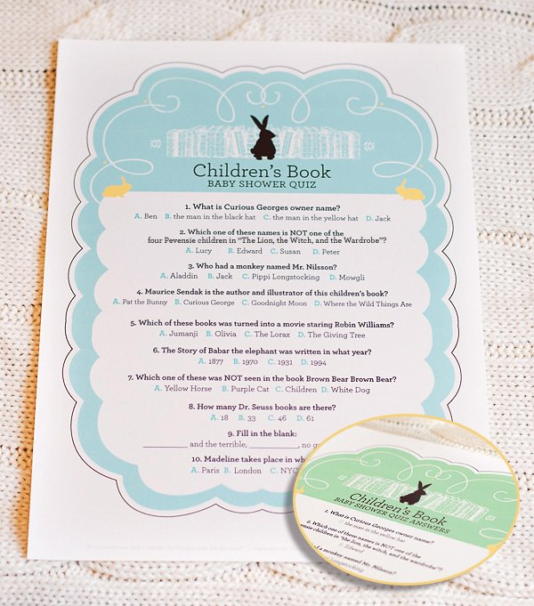 free printable children's book baby shower activity quiz