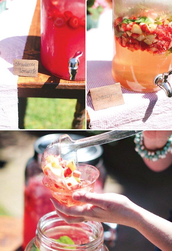 bridal shower strawberry lemonade and sangria