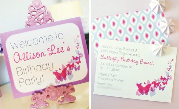 Butterfly Party Invitation Purple Meringues