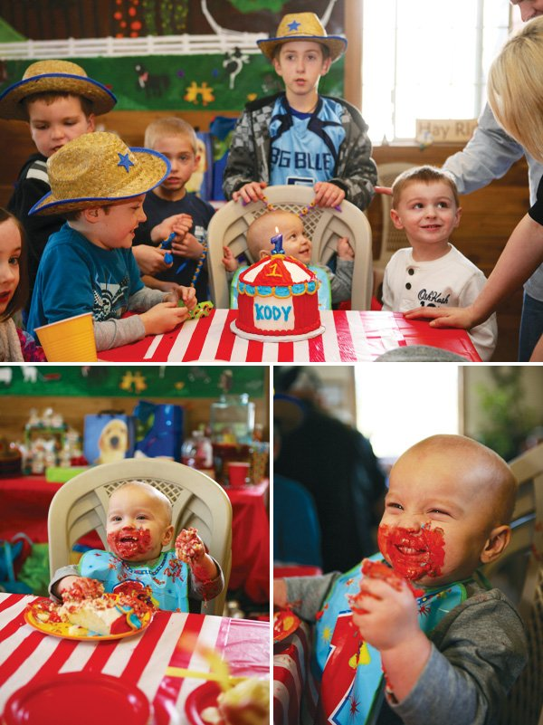 circus party with a tent smash cake
