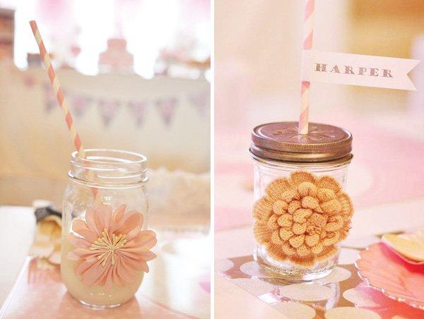 Mason jar with crafty floral embellishments
