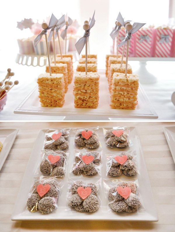 Rice Krispie Treats with ribbon embellished sticks