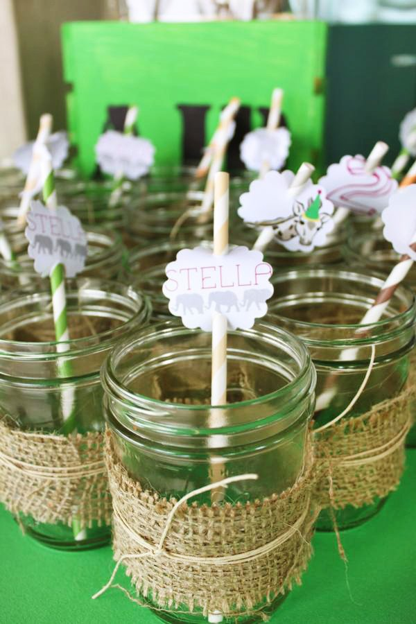 Mason jars with burlap wraps