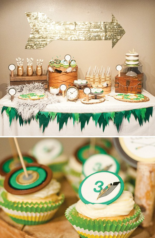 feather and arrows themed dessert table
