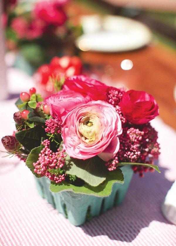 flowers in berry baskets