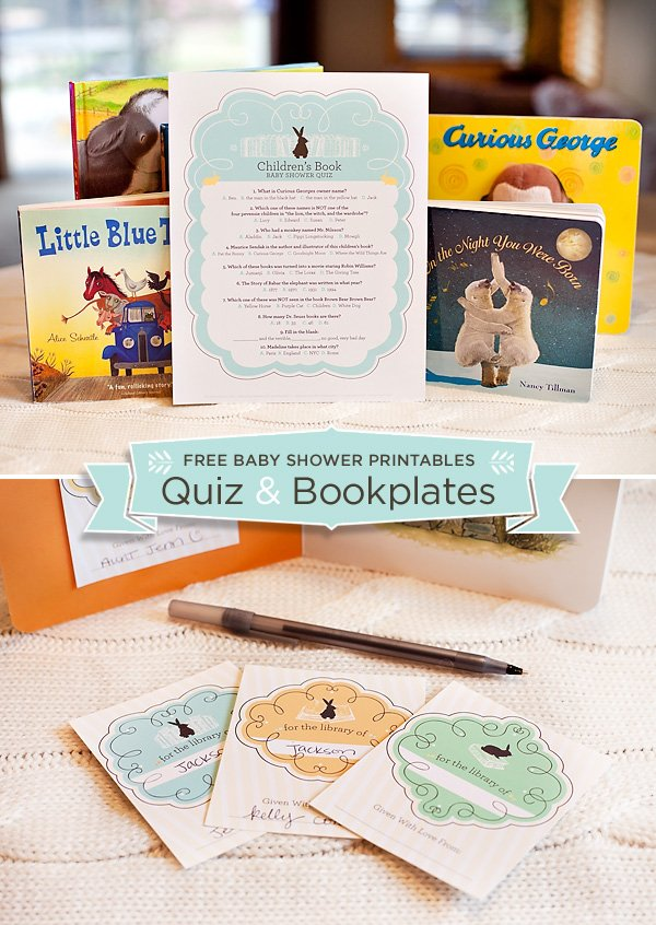 free printable themed baby shower quiz and bookplates