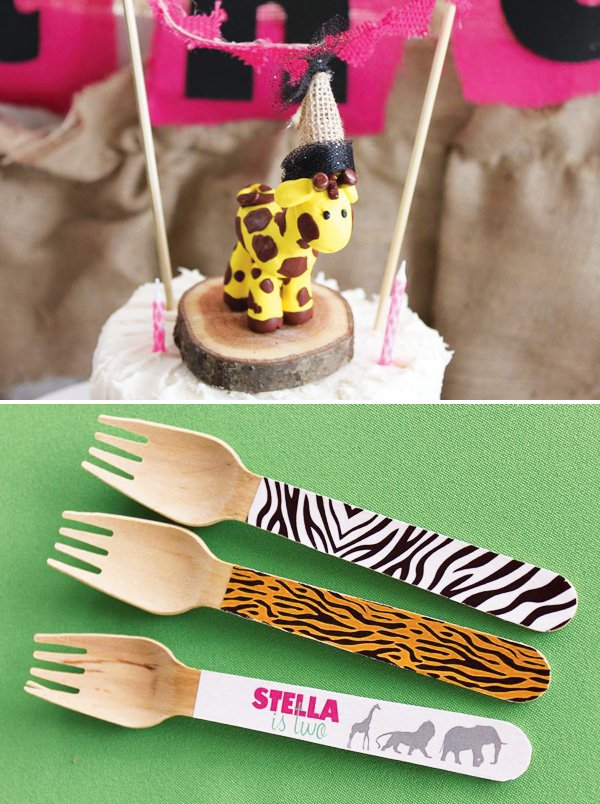 Safari birthday cake with giraffe cake topper