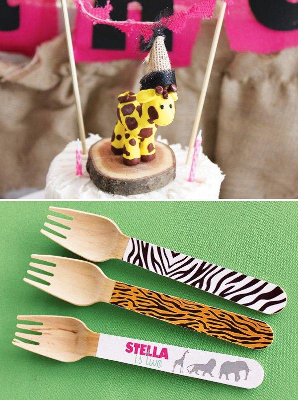 Safari birthday cake with giraffe cake topper