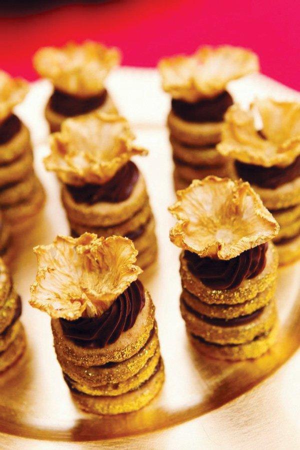 Golden Glittery Dessert Towers