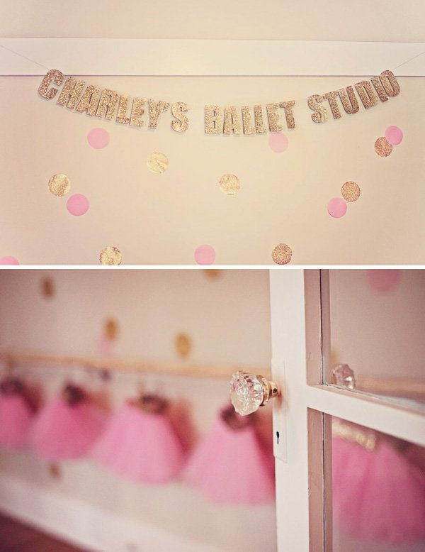 glitter and gold ballet studio
