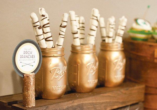 gold painted mason jars