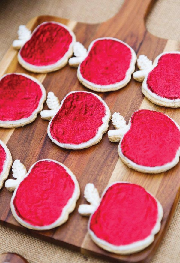 Glittery Red Apple Cookies