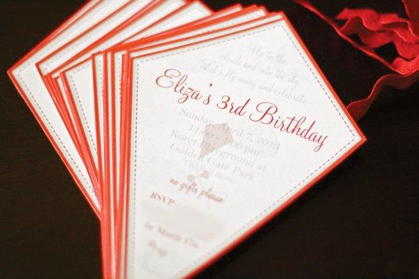 Kite Shaped Birthday Party Invitation