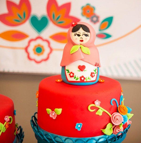 babushka doll cake topper
