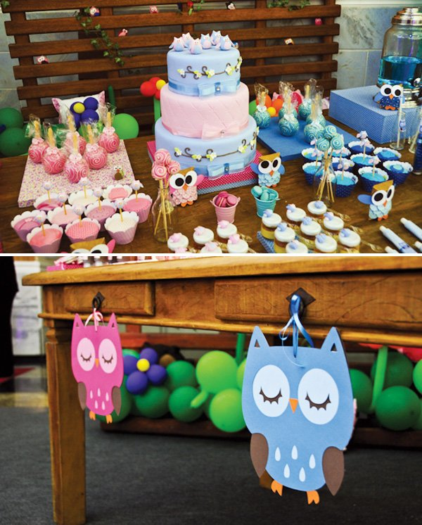 pink and blue owl dessert table