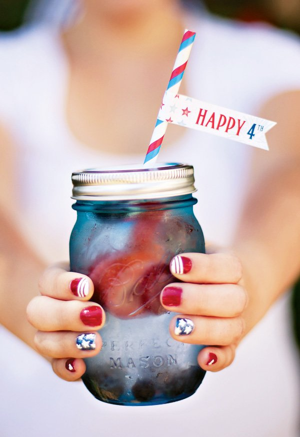patriotic nail art and mason jars for july 4th