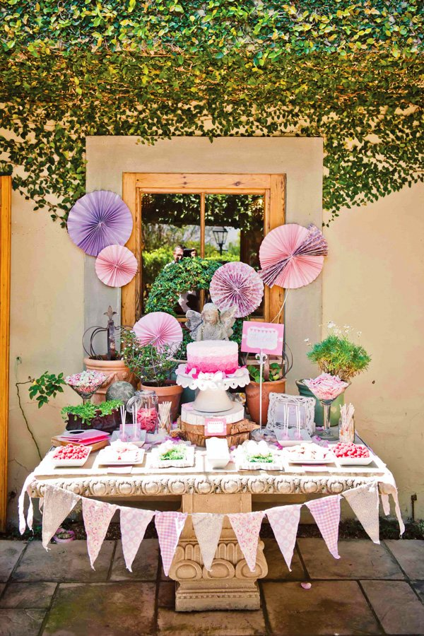 pink first birthday dessert table