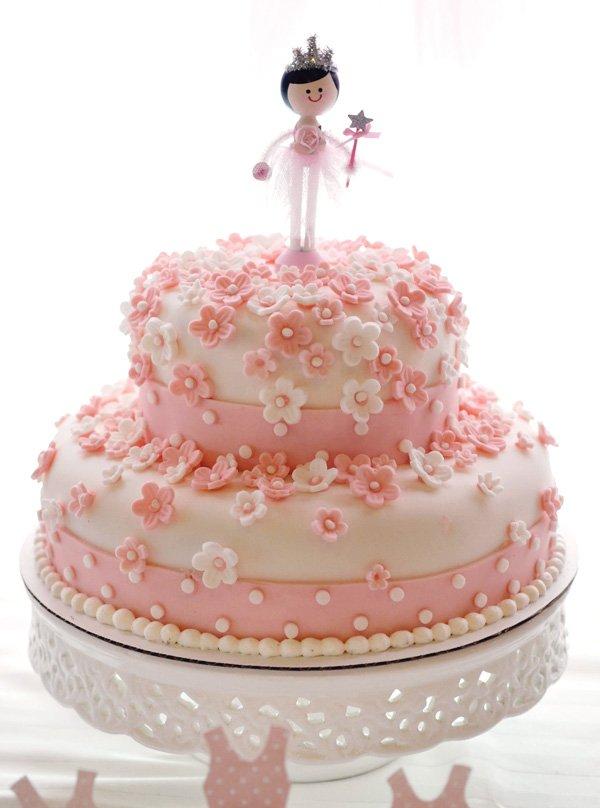 Floral princess ballerina birthday cake