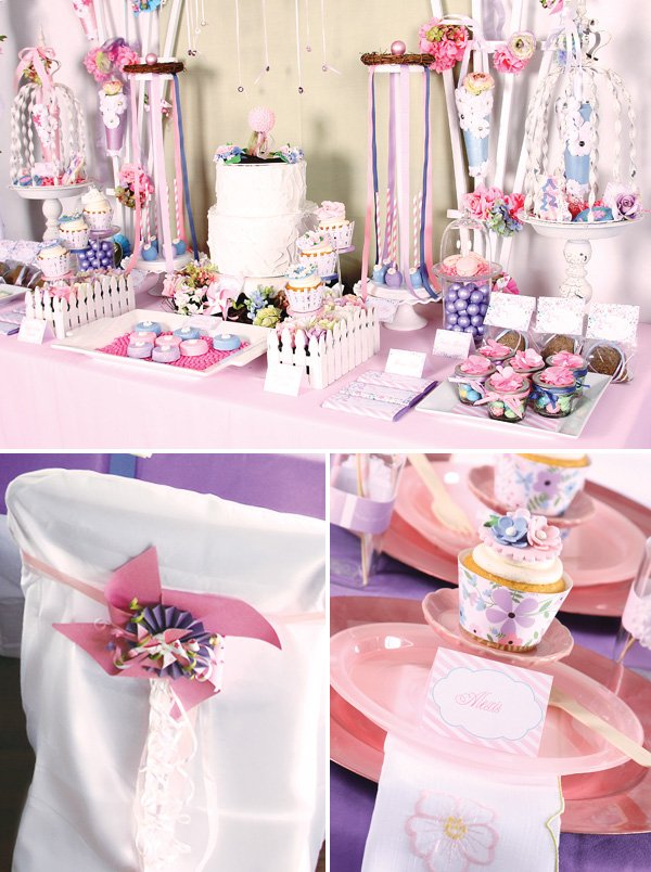 pink and girly garden party dessert table ideas