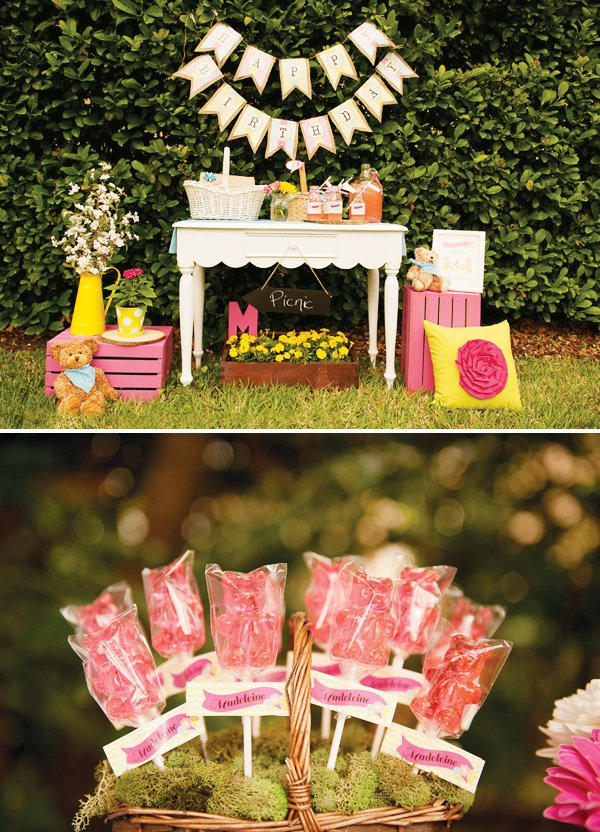 pink teddy bear picnic party