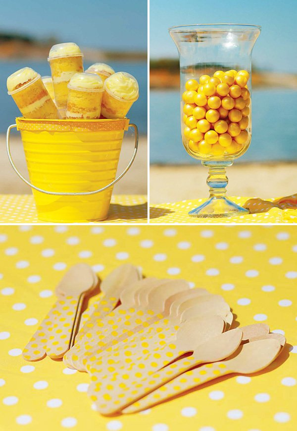 Yellow polka dot beach party