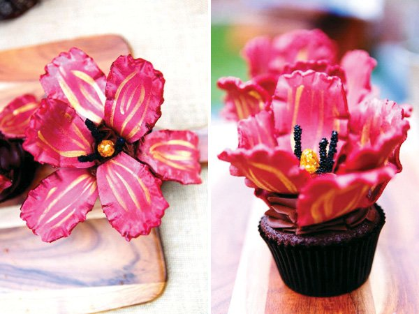 Red Flower Cupcake Toppers