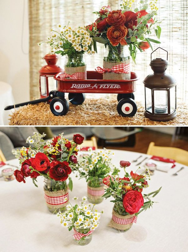 red baby shower decorations