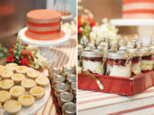 red and white dessert table