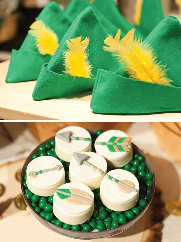 robin hood felt hats with yellow feathers for a boys fairytale inspired party