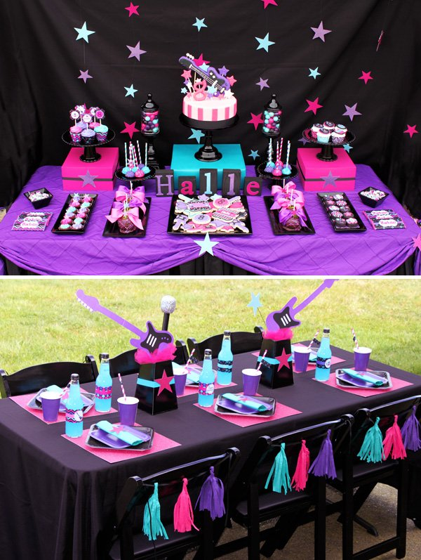 Bright Girly Rockstar Birthday Party Hostess with the Mostess