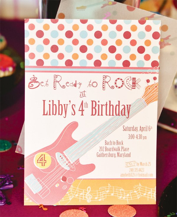 Girly Rockstar Party Invitation