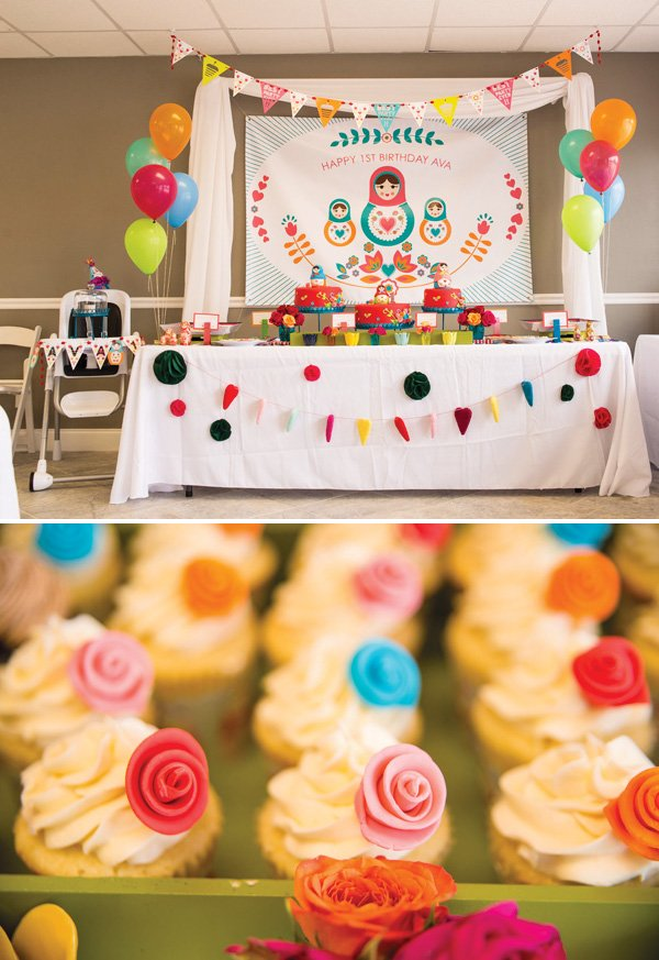 nesting doll theme dessert table
