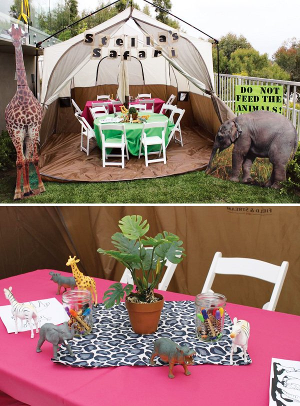 Cute girly safari birthday party hostess with the for Table design jungle
