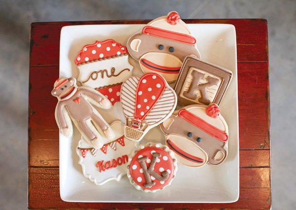 Sock Monkey & Hot Air Balloon Cookies