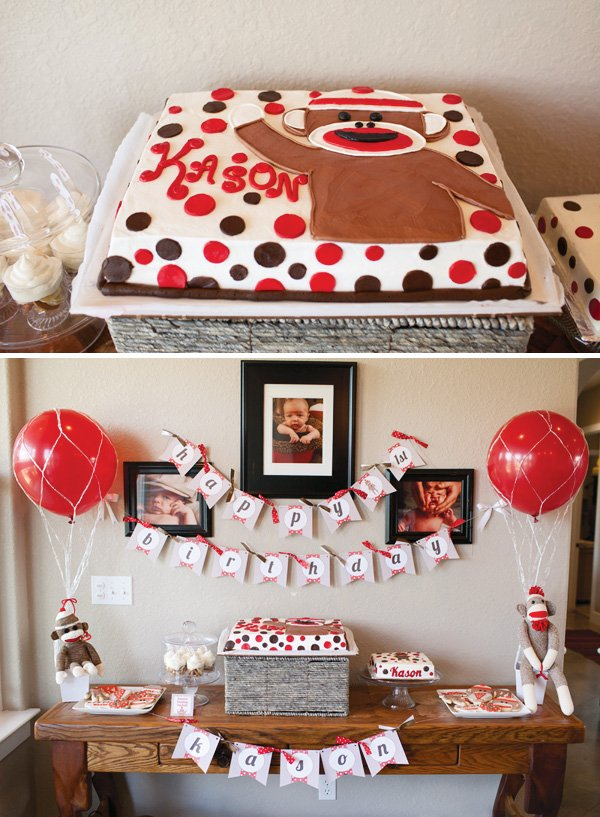 Sock Monkey & Hot Air Balloon Dessert Table