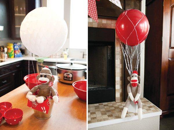 Sock Monkey in Hot Air Balloon