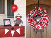 Sock Monkey Fabric Wreath