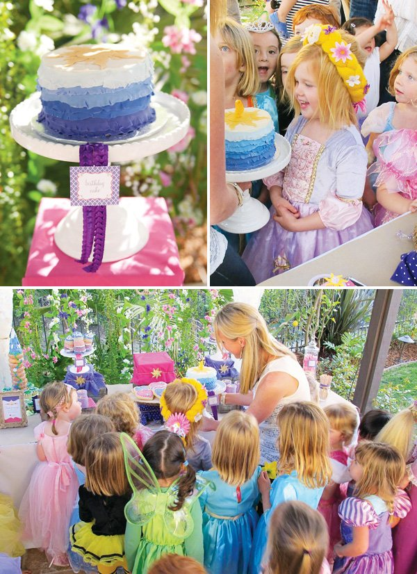 tangled birthday party ruffled cake