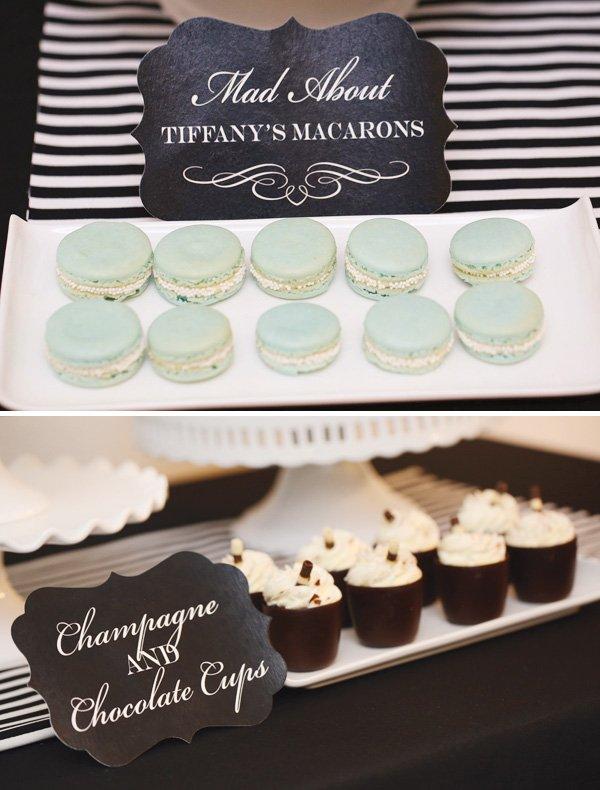 tiffany blue macarons with mini pearls
