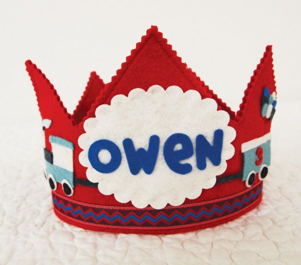 boys felt train birthday crown