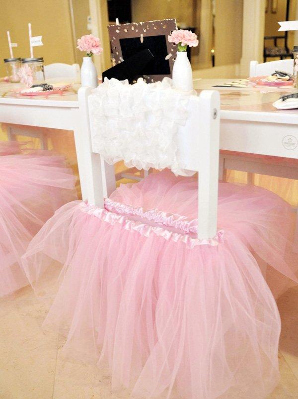Pink tutu chair skirt