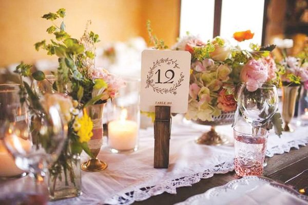 wedding table numbers from BHLDN