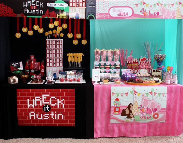 wreck it ralph dessert table and sugar rush arcade game dessert table