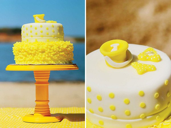 Yellow polka dot ruffle cake