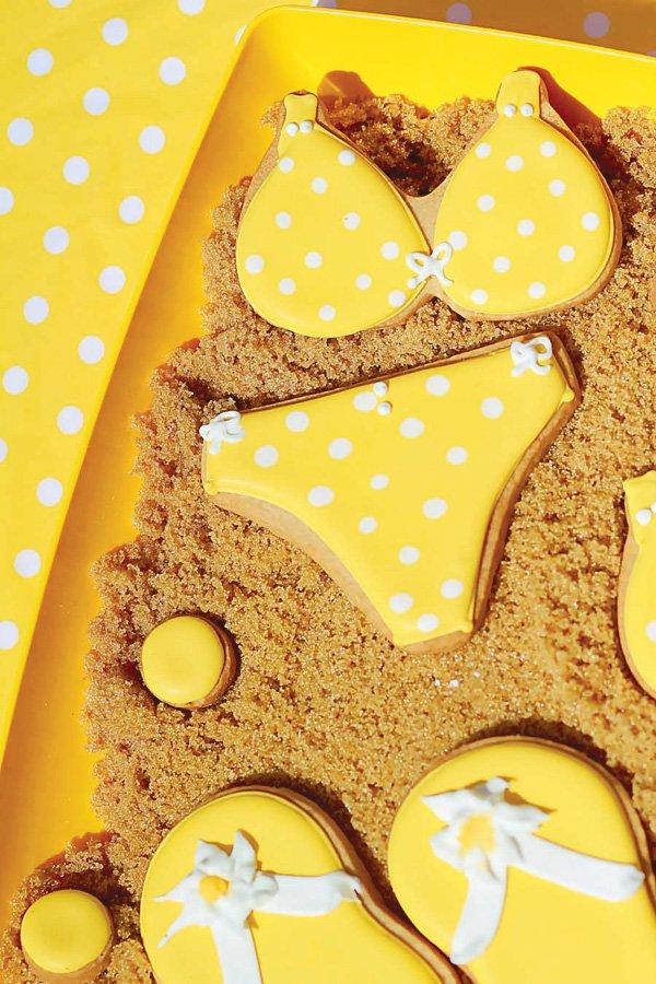 Yellow polka dot bikini cookies
